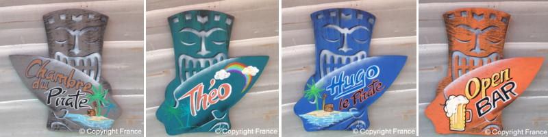 D co surf panneau pancarte personnalis e avec pr nom pour porte et chambre en - Decoration surf chambre ...