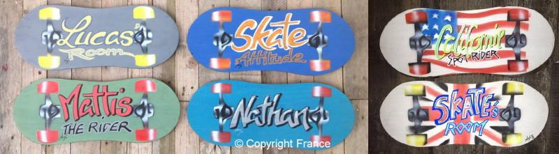Plaque skate pr nom de porte enfant personnalisable plaque r tro vintage d co porte pr nom - Prenom en bois pour porte de chambre ...
